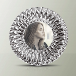 Elegante portafoto in argento 925 sterling di Sequenze, diametro 15 cm.