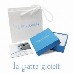 Collana a pallini con ciondolo La Gatta Smorfiosa in argento 925 e cubic zirconia di La Gatta Gioielli.