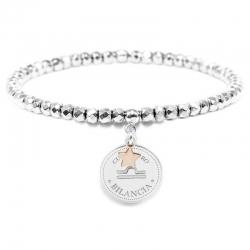 Bracciale elastico di Cuorepuro Italia, unisex segno zodiacale Bilancia con piastra d'argento 925.