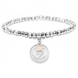 Bracciale elastico di Cuorepuro Italia, unisex segno zodiacale Vergine con piastra d'argento 925.