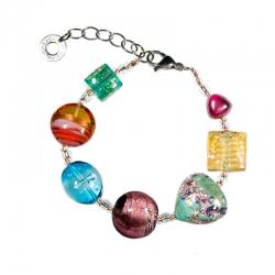 Bracciale di Antica Murrina con perle in vetro con varie lavorazioni veneziane, foglia oro 24kt e foglia argento.