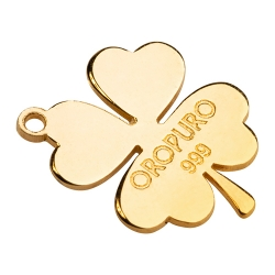 Ciondolo Quadrifoglio in oro puro 999 della collezione Preziosa.