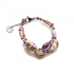 Bracciale di Antica Murrina con perle in vetro con varie lavorazioni veneziane, Made in Italy.
