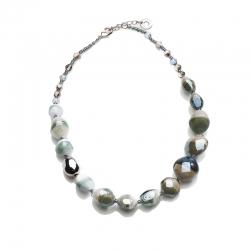 Collana di Antica Murrina con perle in vetro con varie lavorazioni veneziane, Made in Italy.