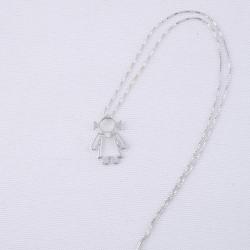 Girocollo con ciondolo Donnina stilizzata in oro bianco 18 kt con diamante taglio brillante ct 0.01.