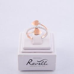 Anello Cuori in oro bianco e rosè 18 kt. Incastonati 13 diamanti taglio brillante di caratura complessiva ct. 0.23 GVS.
