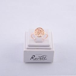 Anello Albero della Vita, in oro rosè 18 kt. Peso gr. 1,45. Misura 14. Made in Italy.