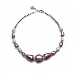 Collana Marina di Antica Murrina con perle in vetro melange con effetto madre perla colore ametista.