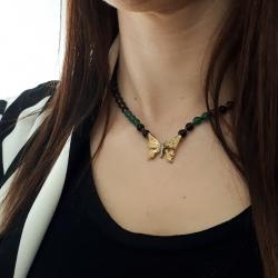 Collana da donna con farfalla in argento dorato con inserto in duraliti, in agata verde e onice.