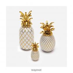 Ananas di Sequenze Bianco/Oro di altezza cm 25.