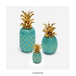 Ananas di Sequenze Turchese/Oro di altezza cm 15. Made in Italy.