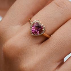 Mario Porzio   Anello cuore topazio rosa e diamanti
