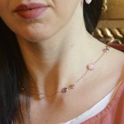 Girocollo in oro rosè 18 kt con ametiste e opali rosa.