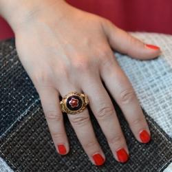 Anello donna in argento dorato, smalto rosso e blu. Misura 15. Made in Italy.