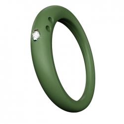 DuePunti | Anello in silicone Verde Pacifico, argento e...