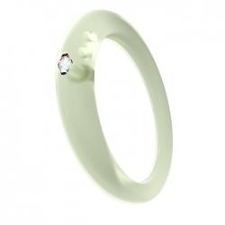 Anello con diamante taglio brillante in castone d'argento 800 su silicone anallergico verde trasparente.