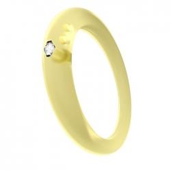Anello con diamante taglio brillante in castone d'argento 800 su silicone anallergico giallo trasparente.