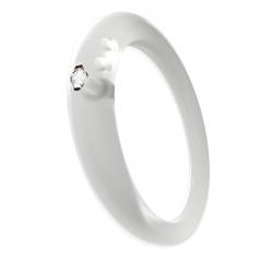 Anello con diamante 0.02 carati taglio brillante in castone d'argento 800 montato su silicone anallergico bianco trasparente.