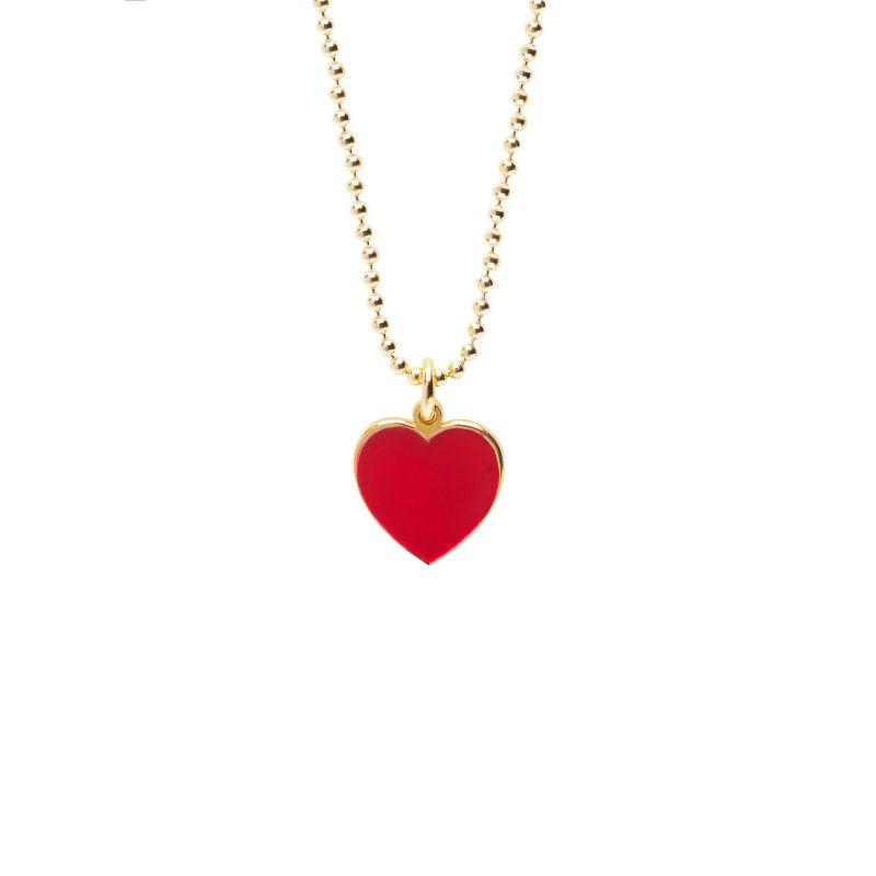Collana cuore 1 cm dorato smalto rosso - Cuorepuro.
