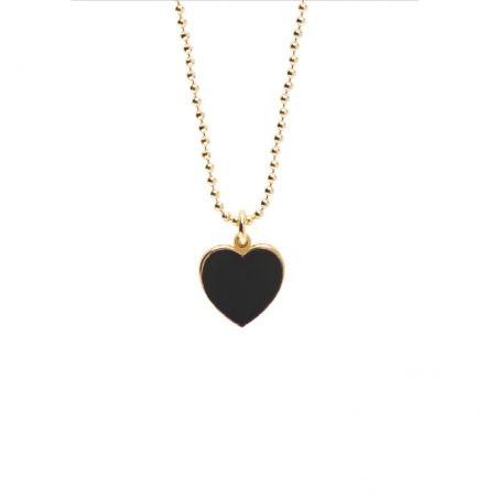 Collana cuore 1 cm dorato smalto nero - Cuorepuro.