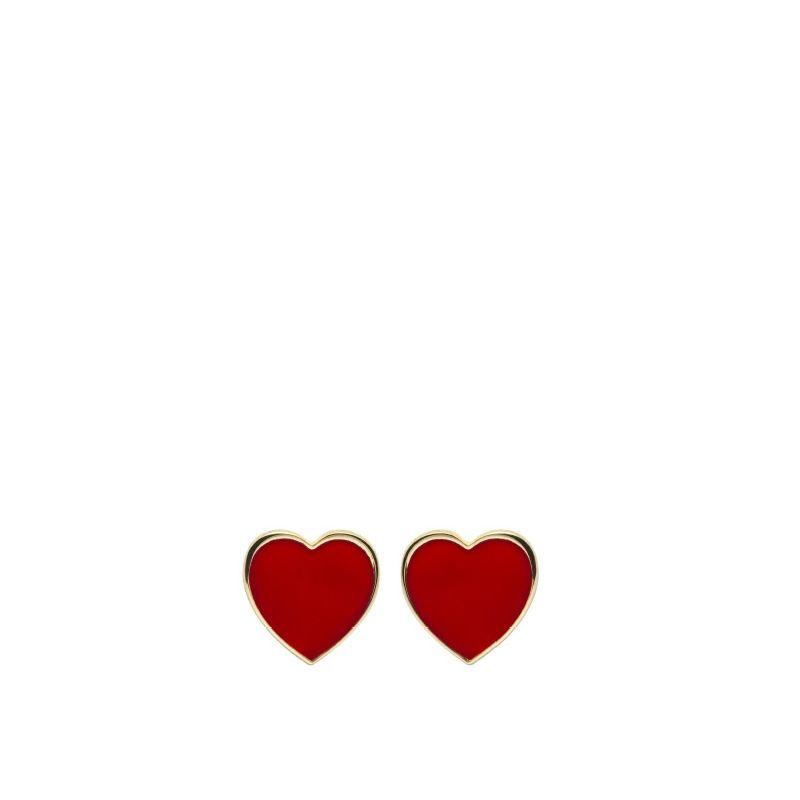Orecchini lobo cuore 8mm dorato smalto rosso - Cuorepuro.