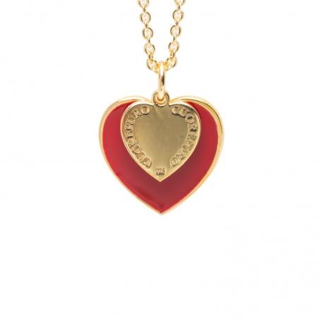 Girocollo cuore 1,5 cm dorato smalto rosso.