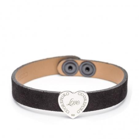 Bracciale camoscio nero cuore 1,5 cm argento