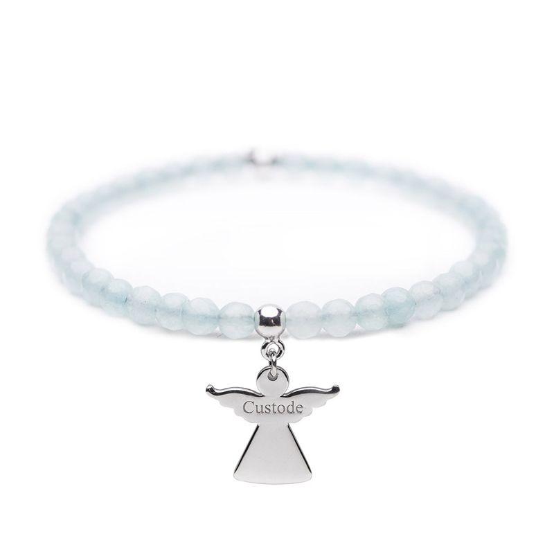 Angelo del Cuore – Bracciale elastico in argento e pietre – Custode - Cuorepuro.