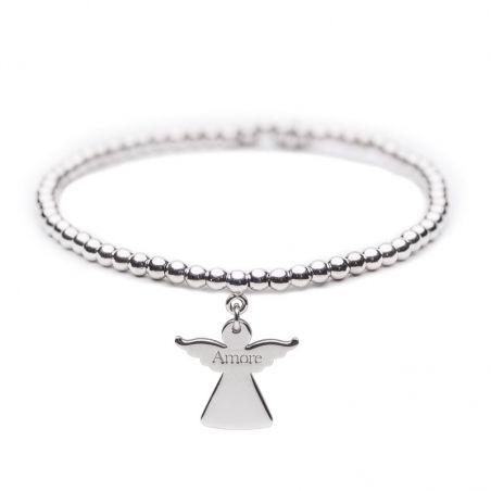 Angelo del Cuore – Bracciale elastico in argento – Amore -Cuorepuro.