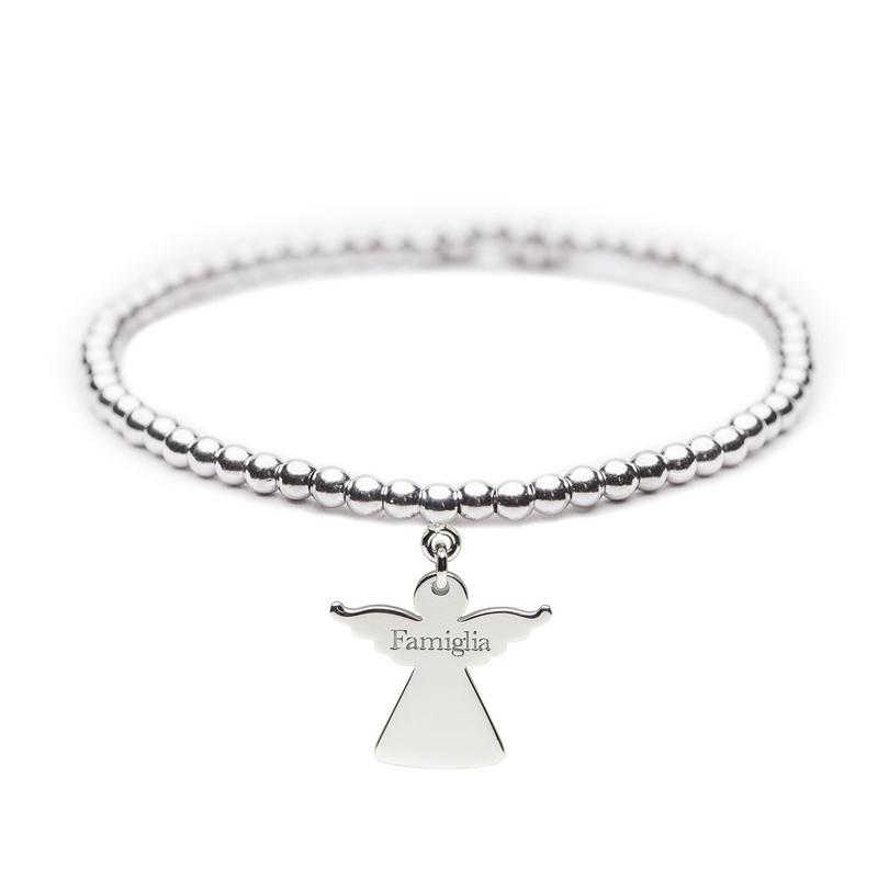 Angelo del Cuore – Bracciale elastico in argento – Famiglia - Cuorepuro.