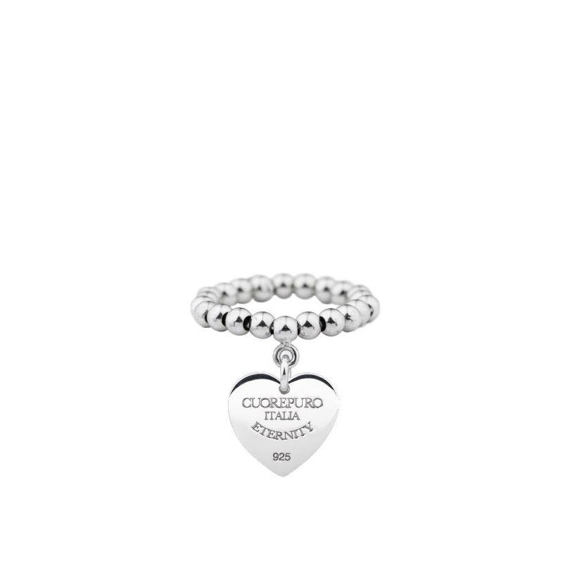 Amore Eterno – Anello elastico cuore 1 cm, argento 925 rodiato.
