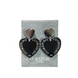 Orecchini semipendenti cuore in argento 925 rodiato.