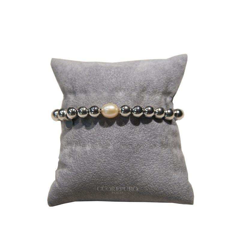 Bracciale elastico con perla champagne p.p., in Argento 925 rodiato di Cuorepuro. Made in Italy.