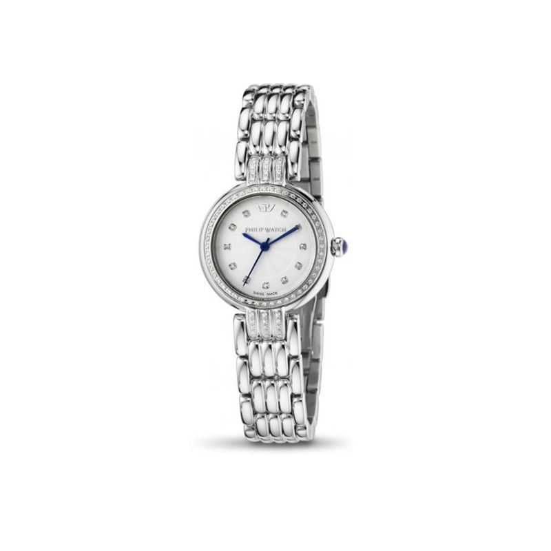 PHILIP WATCH GINEVRA - R8253491504 Orologio da donna al quarzo, finitura cassa in acciaio con diamanti, Swiss made.