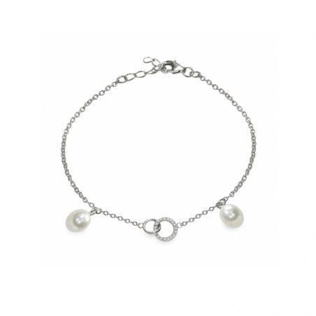 Bracciale in Argento 925‰ con Perle Piena Perlagione - BS161, collezione Lovely di mayumi. Made in Italy.