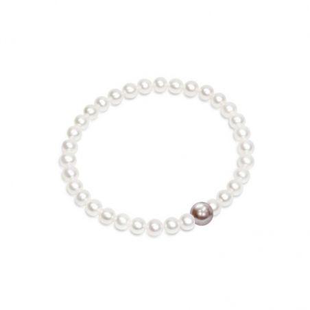 Bracciale di Perle bianche e malva - BS128M, collezione Premier di Mayumi, made in Italy.