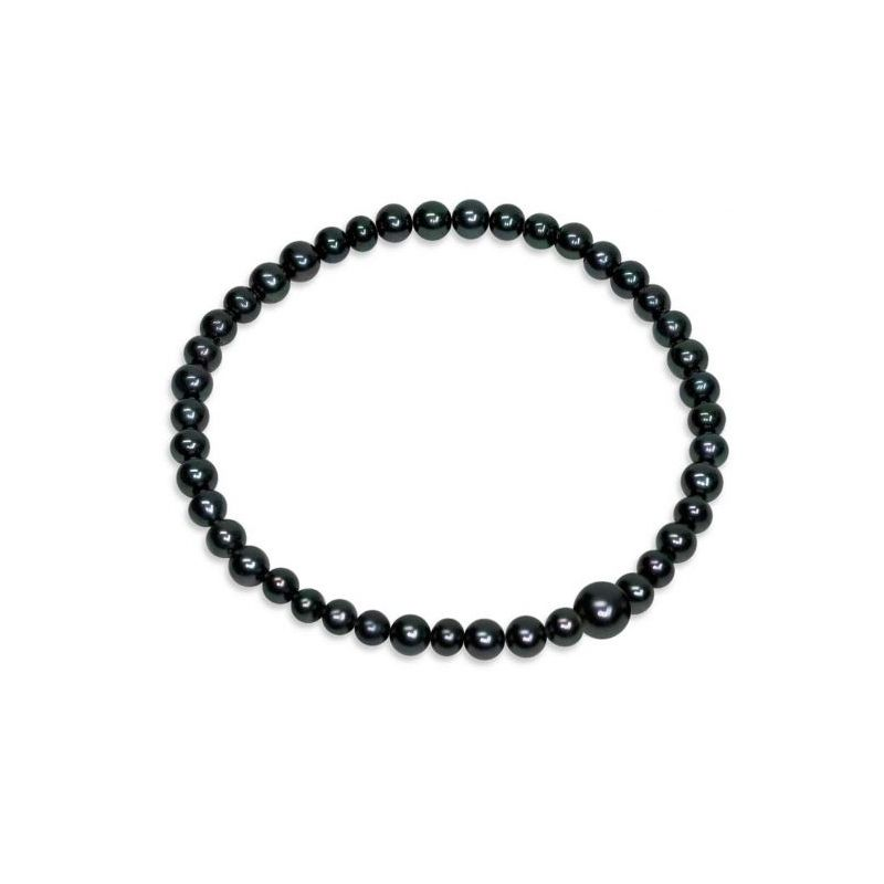 Bracciale di Perle piena perlagione nere - BS126, lunghezza 18,5 cm, collezione Premier di Mayumi, made in Italy.