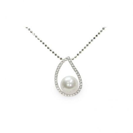 Pendente con catena in Argento 925‰ con Perla piena perlagione - CS215, collezione Jolie di Mayumi.