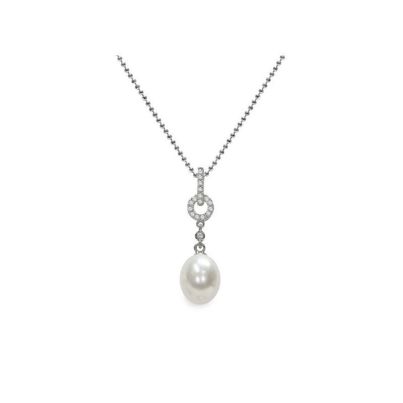 Pendente con catena in Argento 925‰ con Perla piena perlagione - CS239, collezione Profumi di Maggio di Mayumi.