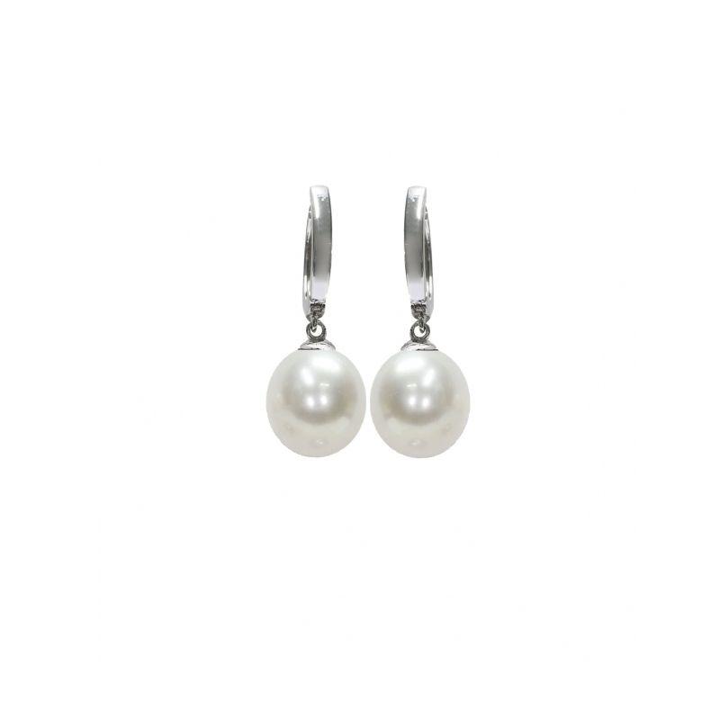 Orecchini in Argento 925‰ con Perle Piena Perlagione, drop 9-10mm della collezione Mod di Mayumi.