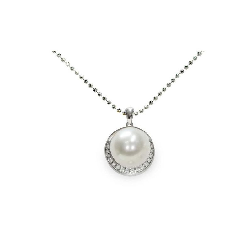 Pendente con catena in Argento 925‰ con Perla Piena Perlagione, lunghezza 45 cm, collezione Jolie di Mayumi.