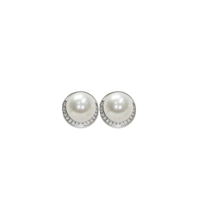 Orecchini bottone in Argento 925‰ con Perlepiena perlagione - OS172, collezione Jolie di Mayumi.
