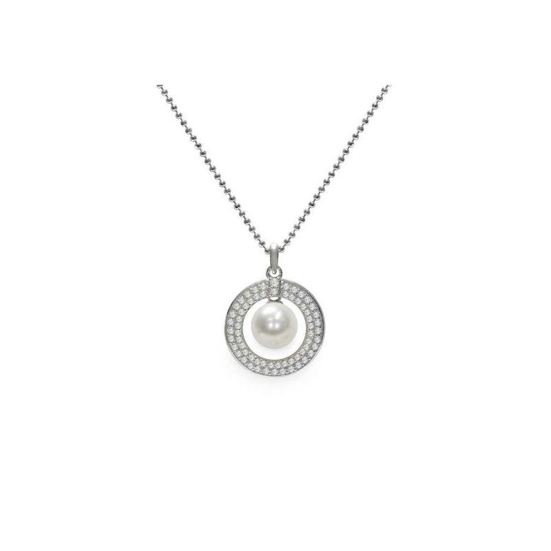 Pendente con catena in Argento 925‰ con Perla piena perlagione - CS242, collezione Profumi di Maggio di Mayumi.