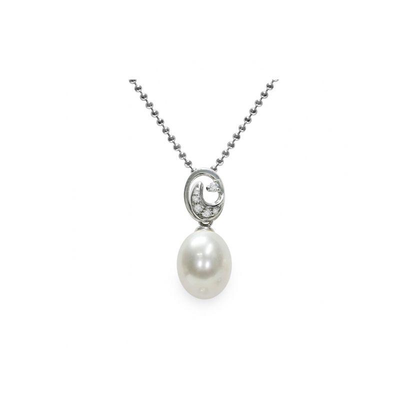 Pendente con catena in Argento 925‰ con Perla piena perlagione - CS253 della collezione Emozioni di Mayumi.