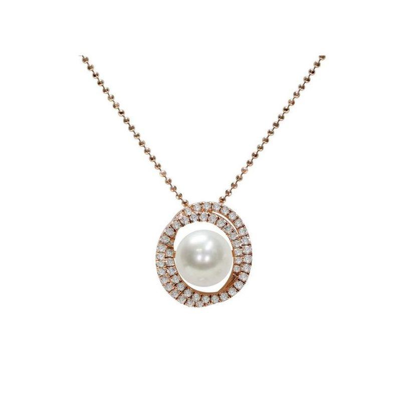 Pendente con catena in Argento 925‰ con Perla piena perlagione - CS229, lunghezza 45 cm, collezione Jolie di Mayumi.