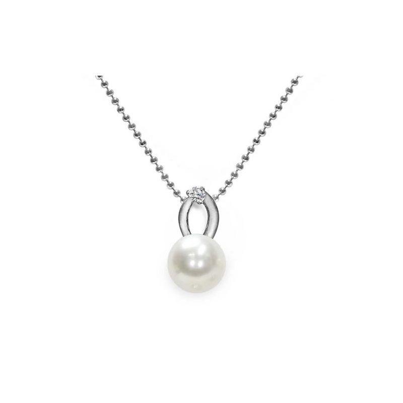 Pendente con catena in Argento 925‰ con Perla piena perlagione  - CS136, lunghezza 45 cm, collezione Jolie di Mayumi.