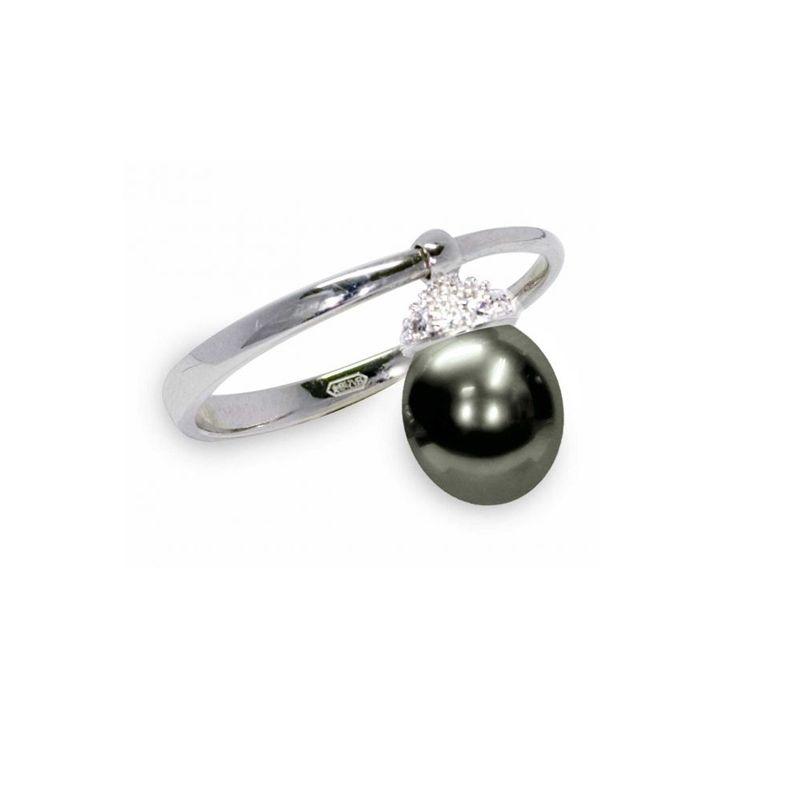 Anello in Argento 925‰ con Perla piena perlagione drop nera - AS115N, misura ø 14, collezione Swing di Mayumi.