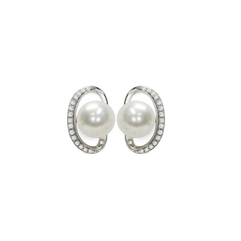 Orecchini in Argento 925‰ con Perle piena perlagione della collezione Ventagli d'Oriente di Mayumi.