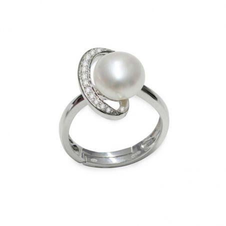 Anello in Argento 925‰ con Perla piena perlagione - AS145, regolabile da ø 14 a 17, collezione Ventagli d'Oriente di Mayumi.