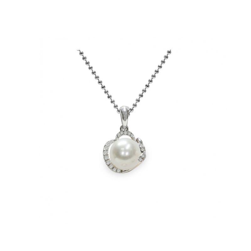 Pendente con catena in Argento 925‰ con Perla piena perlagione - CS269, lunghezza 45 cm, collezione Flora di Mayumi.